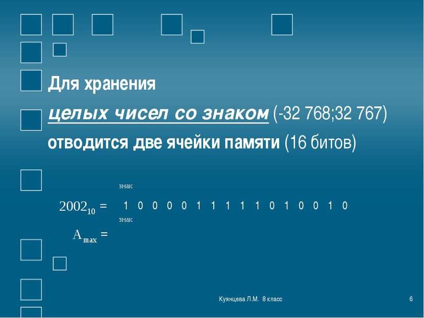 Куянцева Л.М. 8 класс * Для хранения целых чисел со знаком (-32 768;32 767) о...