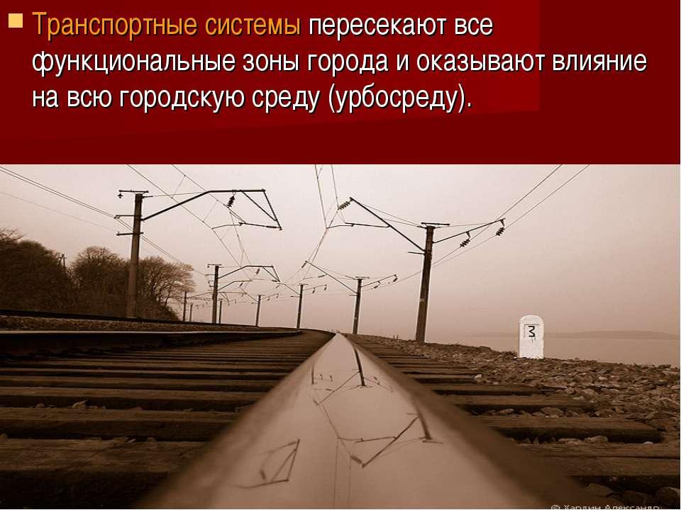 Транспортные системы пересекают все функциональные зоны города и оказывают вл...