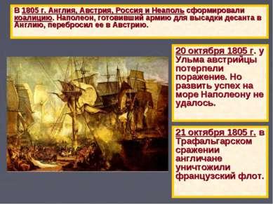 В 1805 г. Англия, Австрия, Россия и Неаполь сформировали коалицию. Наполеон, ...