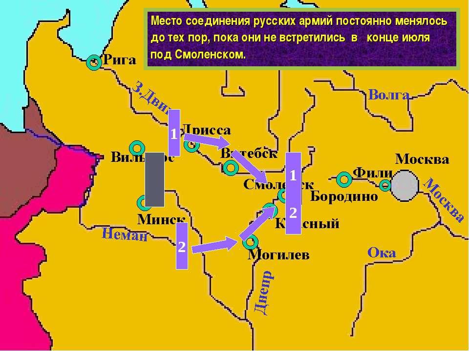 Место соединения русских армий постоянно менялось до тех пор, пока они не вст...