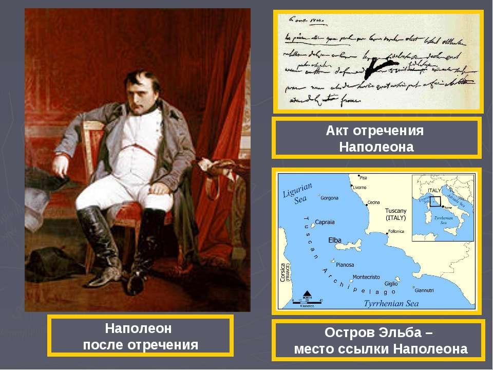 Наполеон после отречения Акт отречения Наполеона Остров Эльба – место ссылки ...