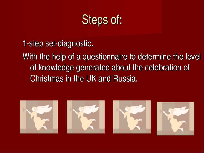Steps of: 1-step set-diagnostic. With the help of a questionnaire to determin...