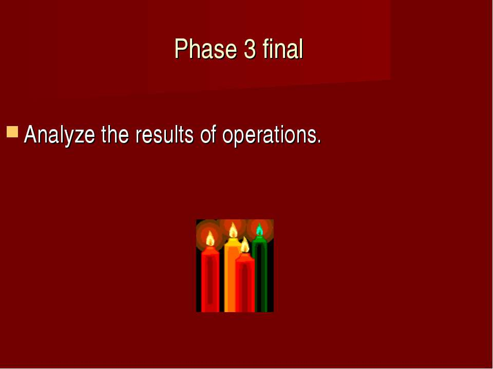 Phase 3 final Analyze the results of operations.