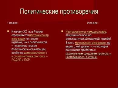 Политические противоречия 1 полюс: К началу XX в. в России оформляется пёстры...