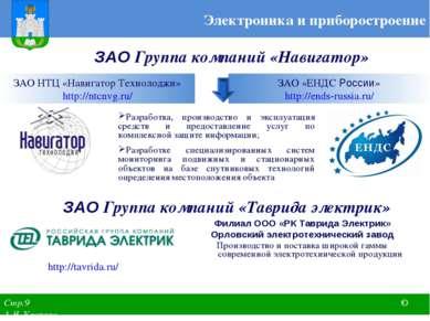ЗАО Группа компаний «Навигатор» Электроника и приборостроение ЗАО НТЦ «Навига...
