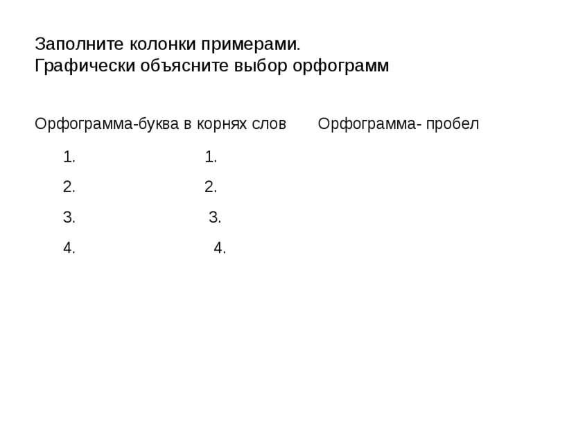 Заполните колонки примерами. Графически объясните выбор орфограмм Орфограмма-...