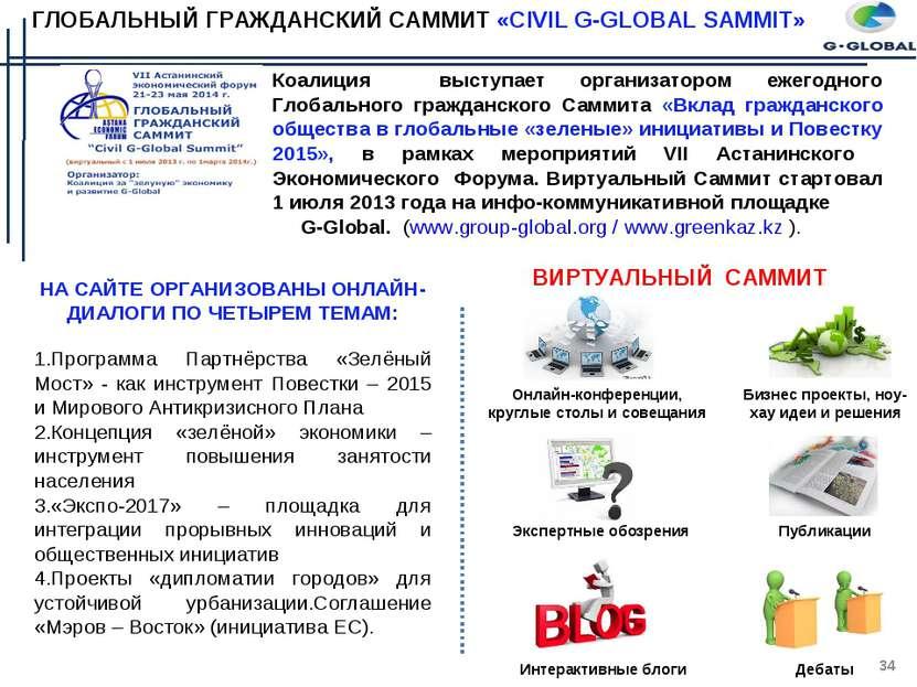 ГЛОБАЛЬНЫЙ ГРАЖДАНСКИЙ САММИТ «CIVIL G-GLOBAL SAMMIT» Коалиция выступает орга...