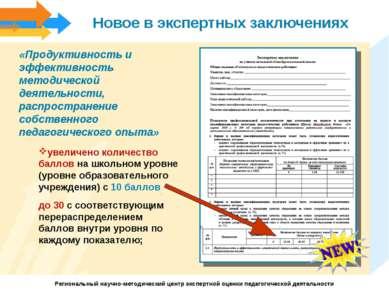 Новое в экспертных заключениях «Продуктивность и эффективность методической д...
