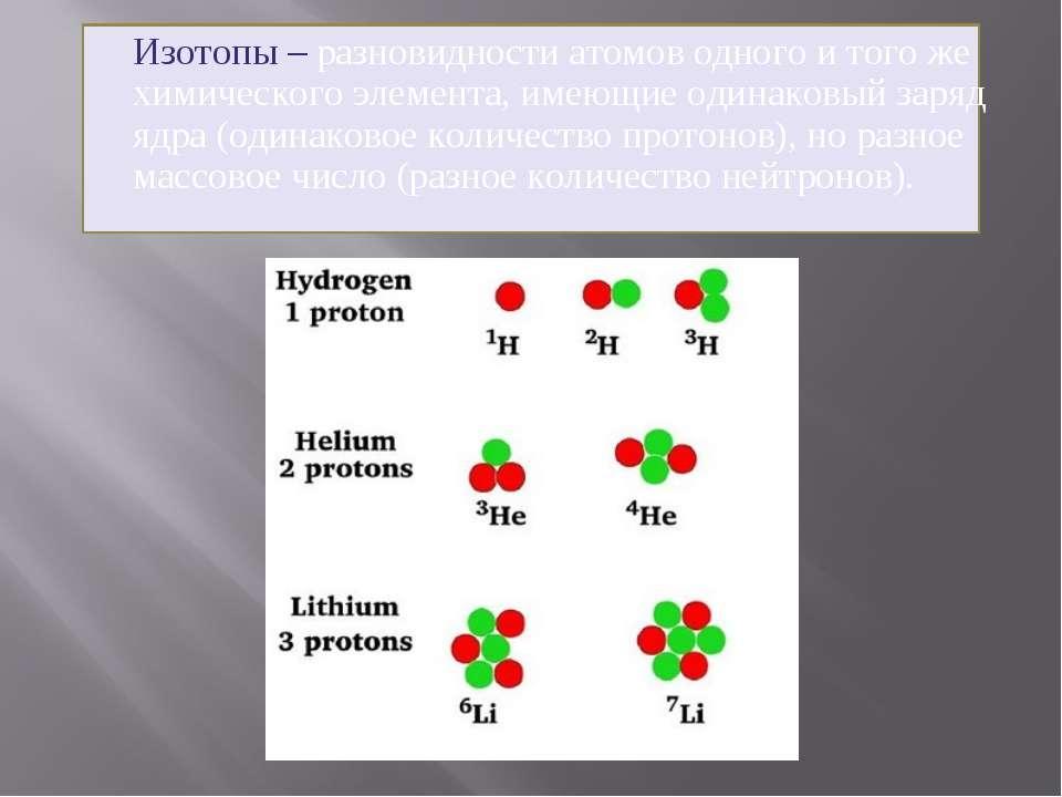 Изотопы – разновидности атомов одного и того же химического элемента, имеющие...