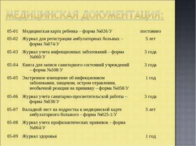 05-01 Медицинская карта ребенка – форма №026/У постоянно 05-02 Журнал для рег...