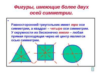Фигуры, имеющие более двух осей симметрии. Равносторонний треугольник имеет т...