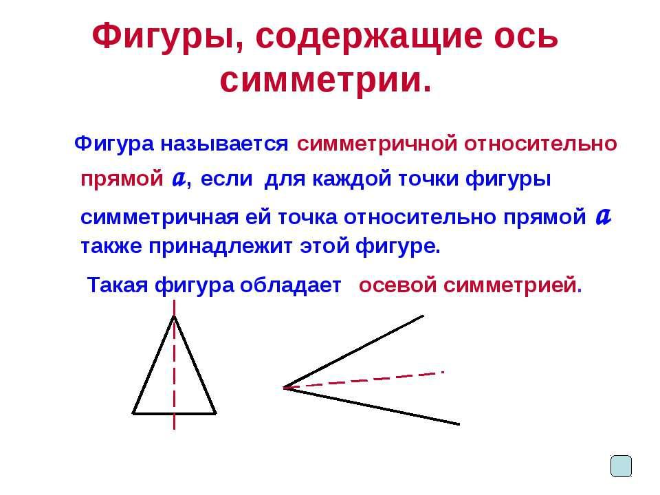 Фигуры, содержащие ось симметрии. Фигура называется симметричной относительно...