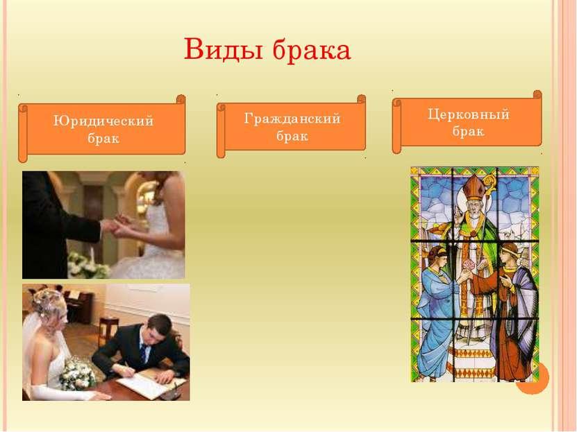 Виды брака Юридический брак Гражданский брак Церковный брак