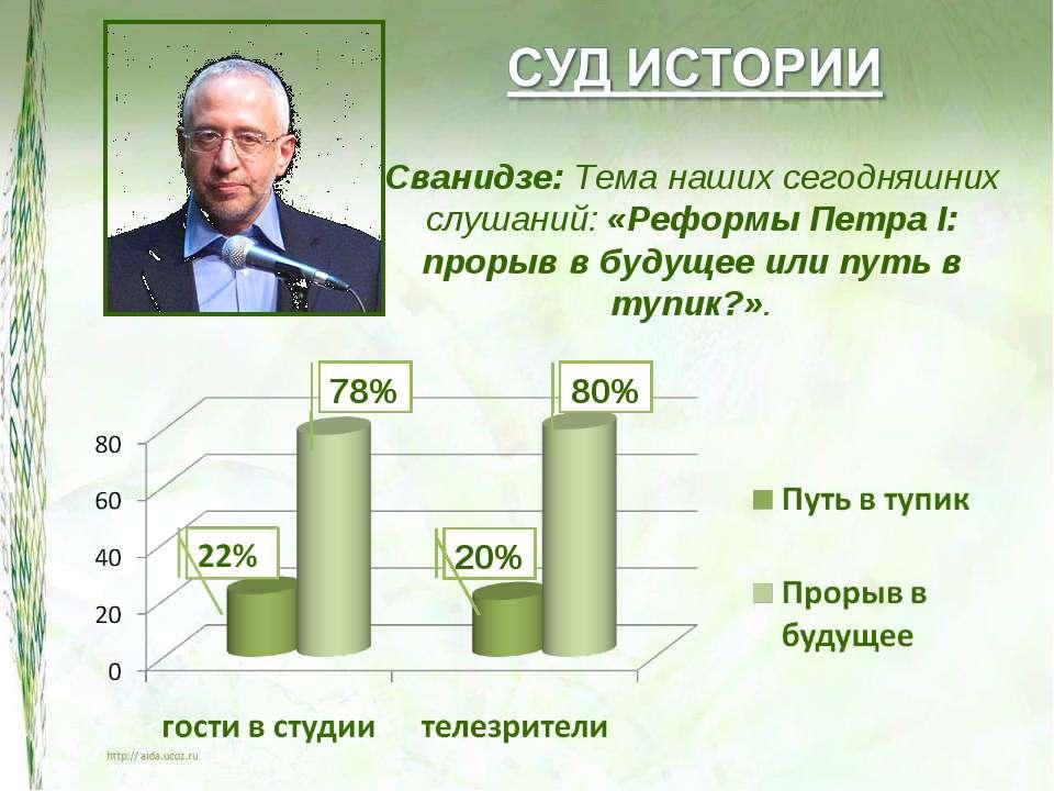 Сванидзе: Тема наших сегодняшних слушаний: «Реформы Петра I: прорыв в будущее...