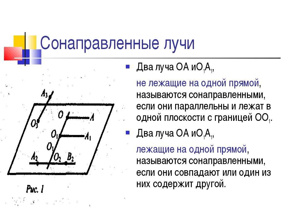 Сонаправленные лучи Два луча ОА иО1А1, не лежащие на одной прямой, называются...