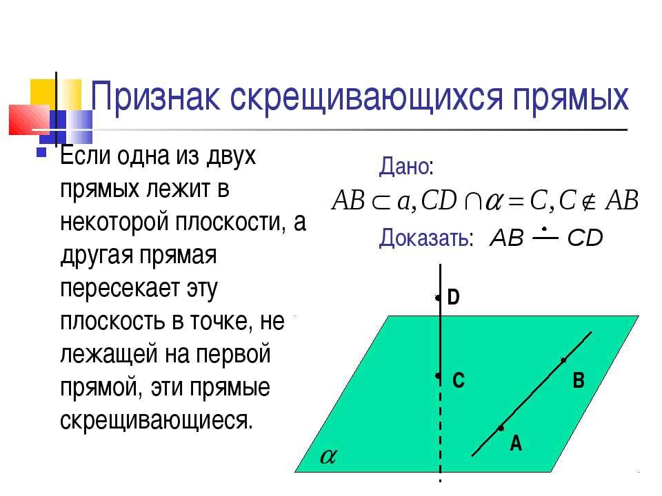 Признак скрещивающихся прямых Если одна из двух прямых лежит в некоторой плос...