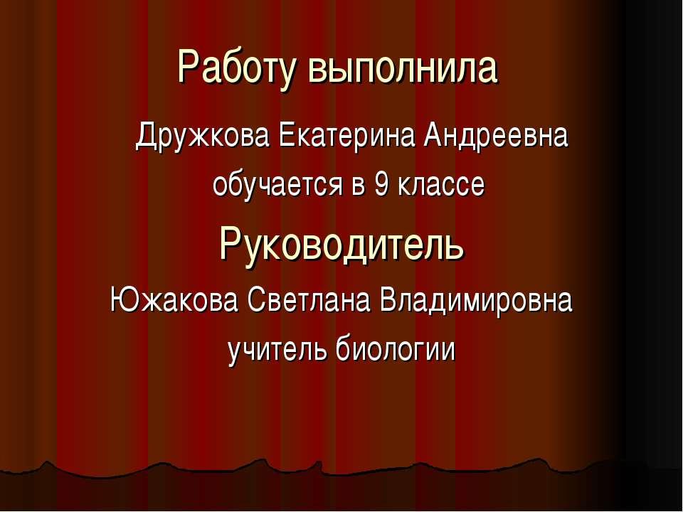 Работу выполнила Дружкова Екатерина Андреевна обучается в 9 классе Руководите...