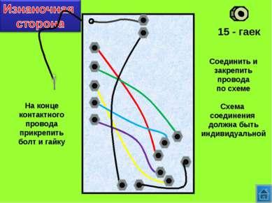 15 - гаек Соединить и закрепить провода по схеме Схема соединения должна быть...