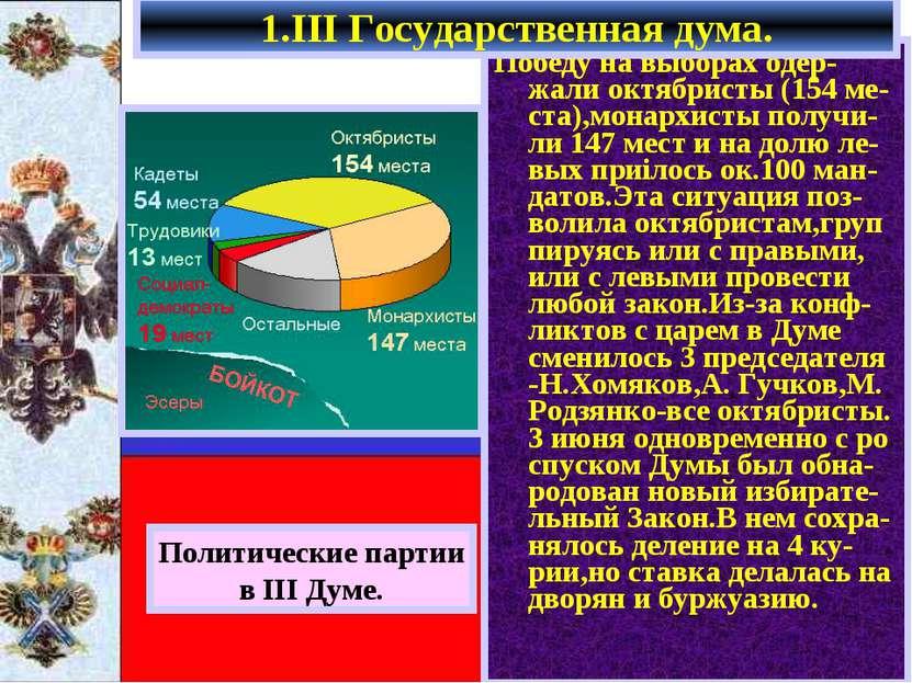 Победу на выборах одер-жали октябристы (154 ме-ста),монархисты получи-ли 147 ...
