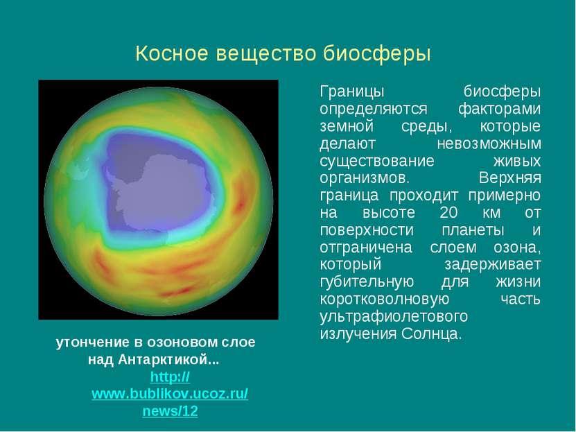 Косное вещество биосферы Границы биосферы определяются факторами земной среды...