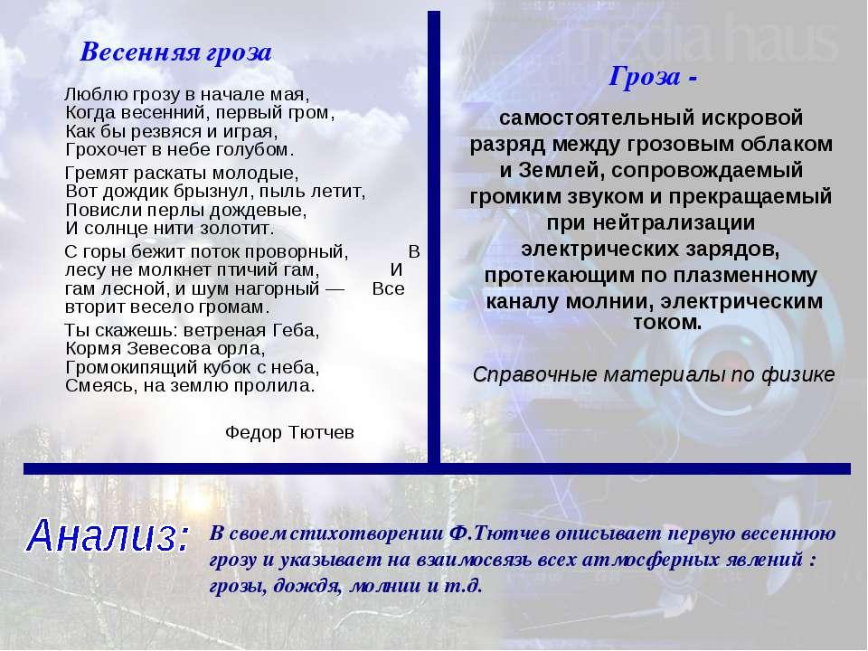 В своем стихотворении Ф.Тютчев описывает первую весеннюю грозу и указывает на...