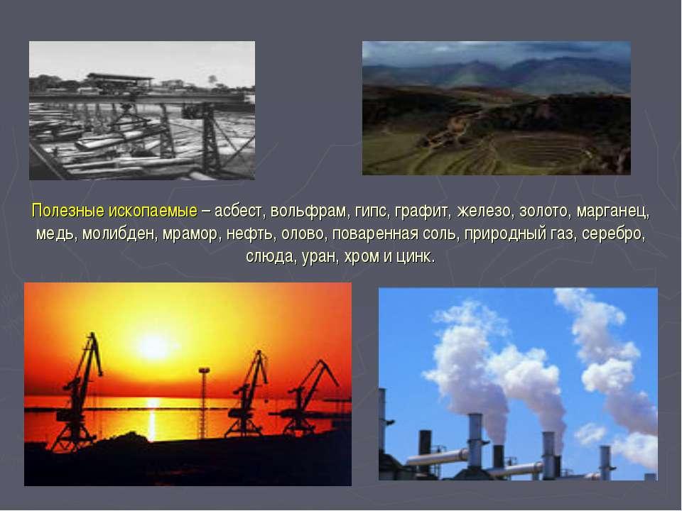 Полезные ископаемые – асбест, вольфрам, гипс, графит, железо, золото, маргане...