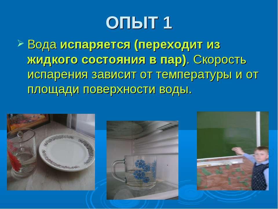 ОПЫТ 1 Вода испаряется (переходит из жидкого состояния в пар). Скорость испар...