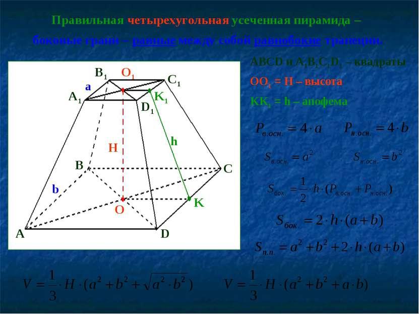 Правильная четырехугольная усеченная пирамида – боковые грани – равные между ...