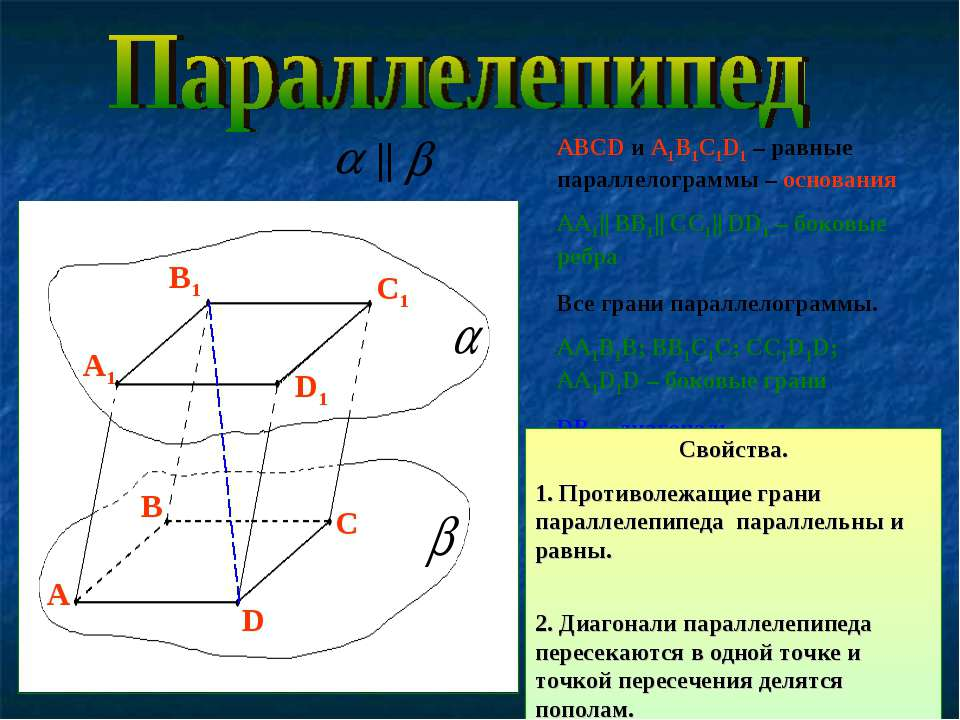 АВСD и A1B1C1D1 – равные параллелограммы – основания АА1|| ВВ1|| СС1|| DD1 – ...