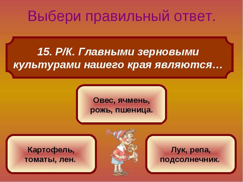 15. Р/К. Главными зерновыми культурами нашего края являются… Выбери правильны...
