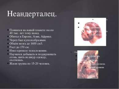 Неандерталец. Появился на нашей планете около 40 тыс. лет тому назад. Обитал ...