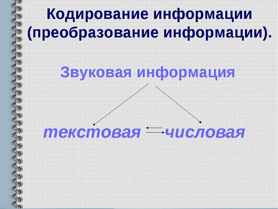 Кодирование информации (преобразование информации). Звуковая информация текст...