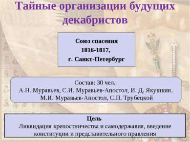 Тайные организации будущих декабристов Союз спасения 1816-1817, г. Санкт-Пете...