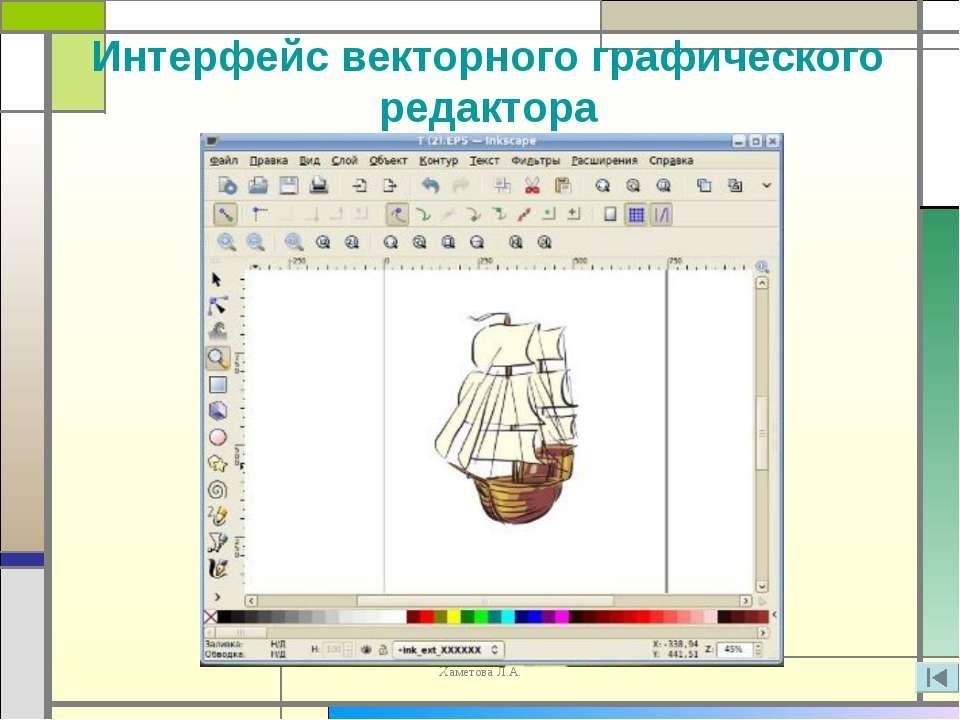 Интерфейс векторного графического редактора Хаметова Л.А.