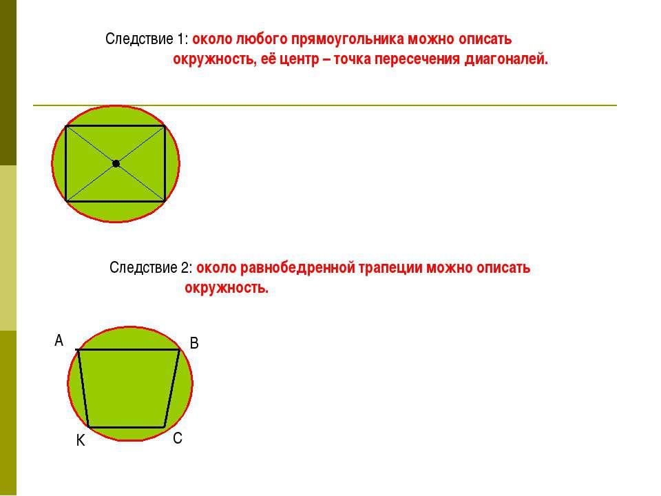 Следствие 1: около любого прямоугольника можно описать окружность, её центр –...