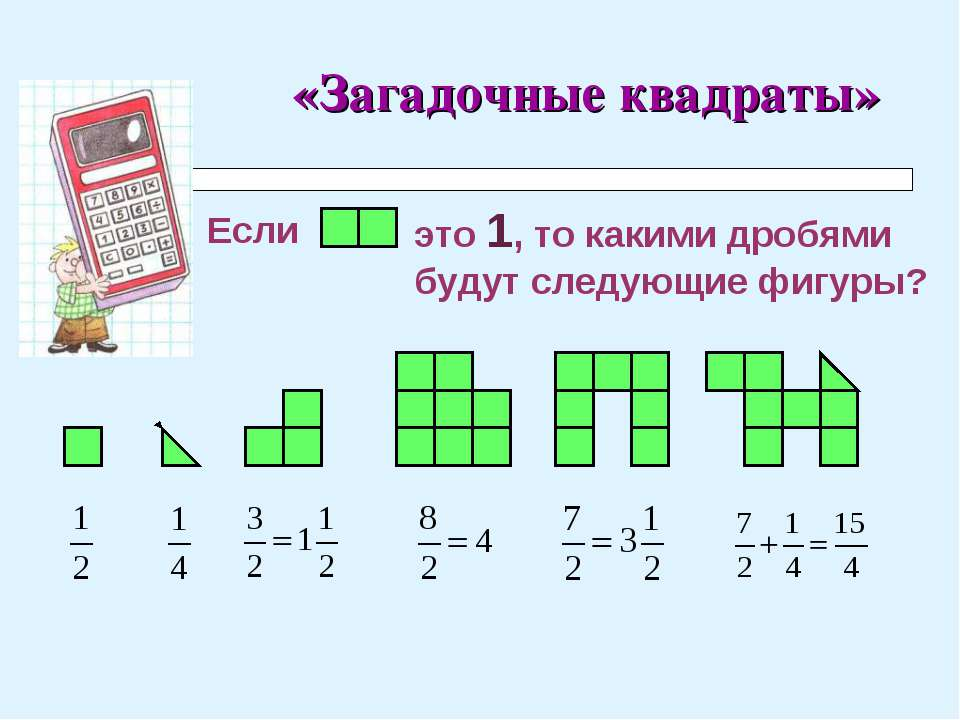 «Загадочные квадраты» Если это 1, то какими дробями будут следующие фигуры?