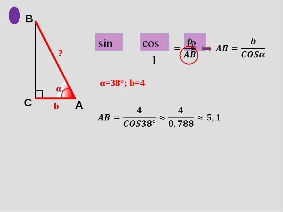 b α ? 1 α=38°; b=4 sinα cosα tgα 1 A C B