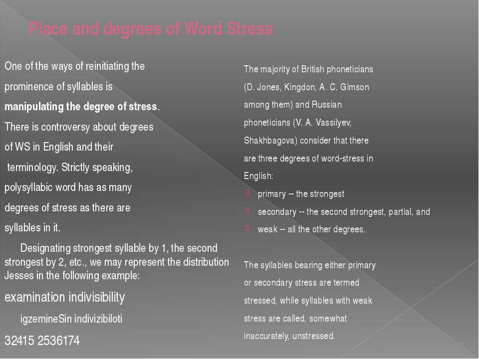 Place and degrees of Word Stress One of the ways of reinitiating the prominen...