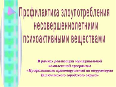 В рамках реализации муниципальной комплексной программы «Профилактика правона...
