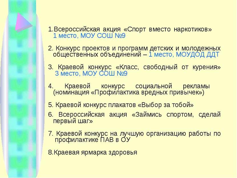 Всероссийская акция «Спорт вместо наркотиков» 1 место, МОУ СОШ №9 Конкурс про...