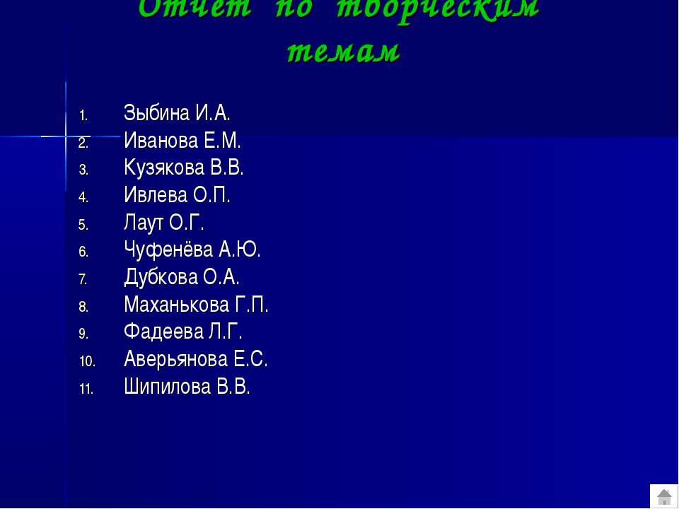 Отчёт по творческим темам Зыбина И.А. Иванова Е.М. Кузякова В.В. Ивлева О.П. ...
