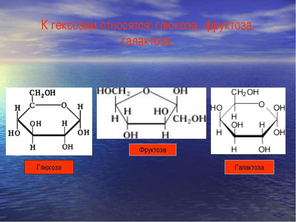 К гексозам относятся: глюкоза, фруктоза, галактоза. Глюкоза Фруктоза Галактоза