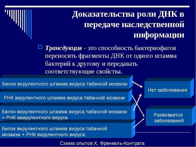Доказательства роли ДНК в передаче наследственной информации Трансдукция - эт...