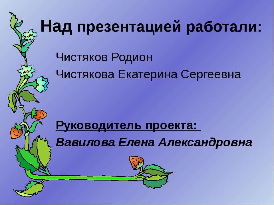 Над презентацией работали: Чистяков Родион Чистякова Екатерина Сергеевна Руко...