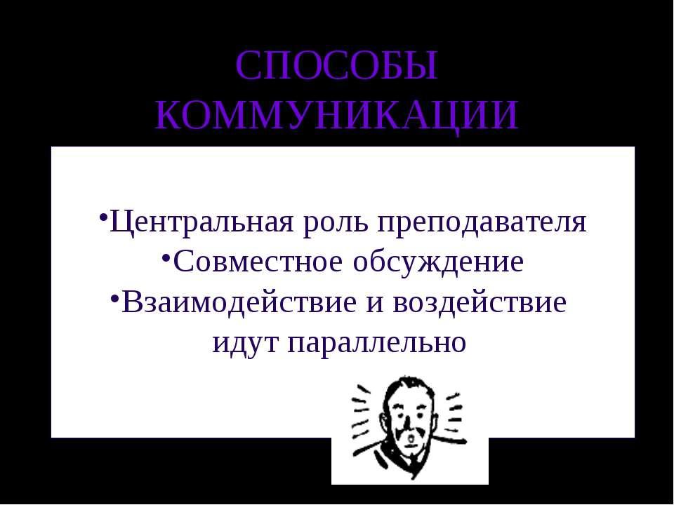СПОСОБЫ КОММУНИКАЦИИ Центральная роль преподавателя Совместное обсуждение Вза...