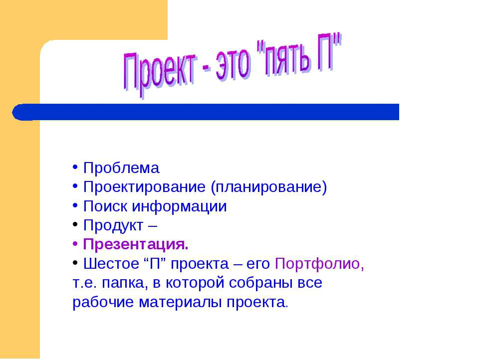 Проблема Проектирование (планирование) Поиск информации Продукт – Презентация...