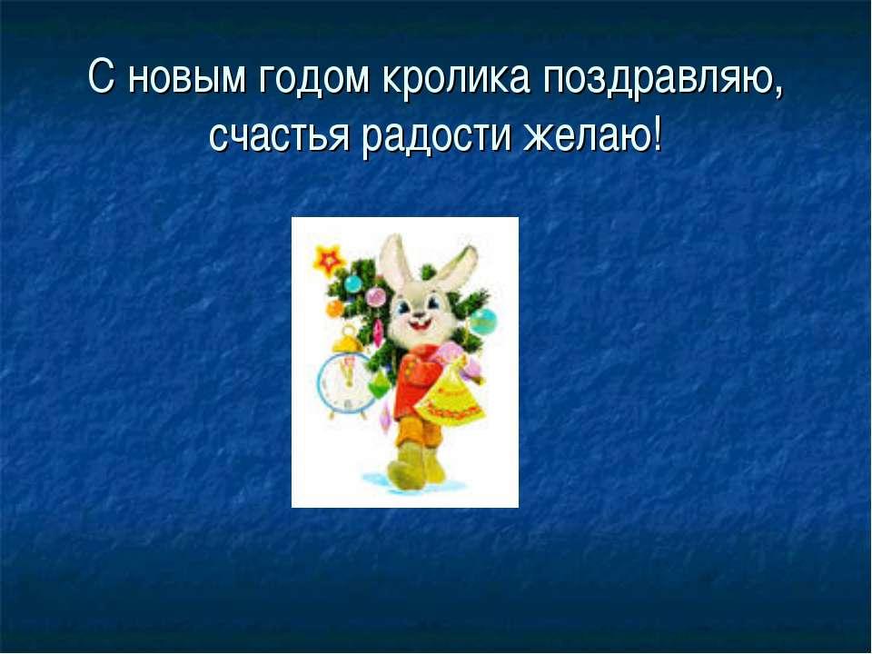 С новым годом кролика поздравляю, счастья радости желаю!
