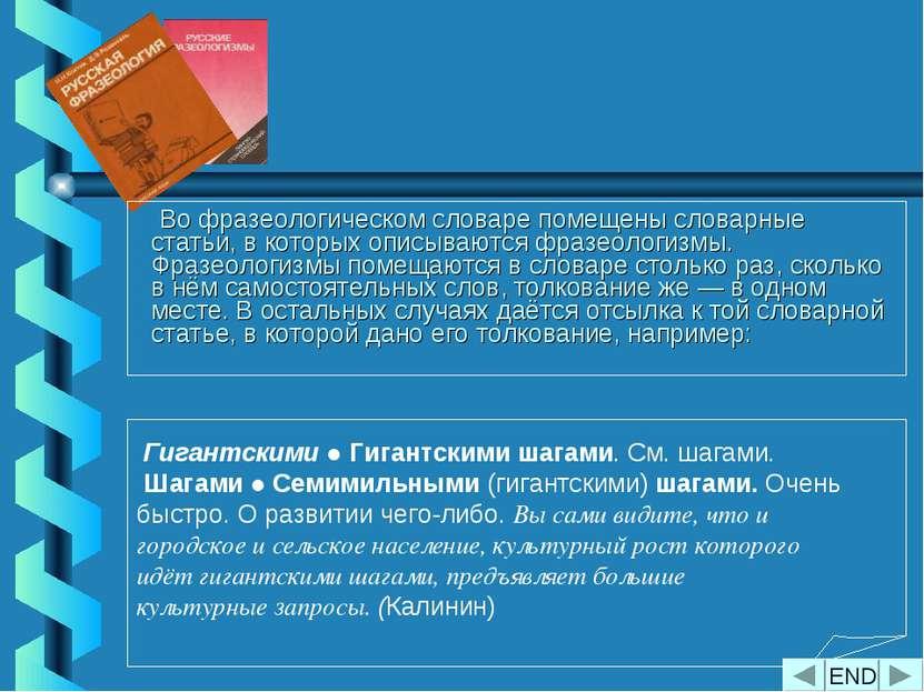 Во фразеологическом словаре помещены словарные статьи, в которых описываются ...