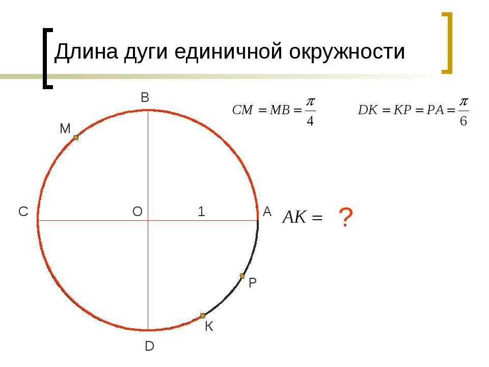 О D С В А 1 М К Р ? Длина дуги единичной окружности
