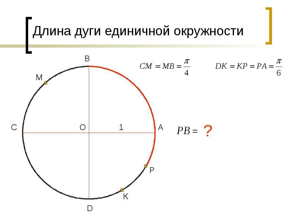 Длина дуги единичной окружности О D С В А 1 М К Р ? Copyright © 2009 by Zyki...